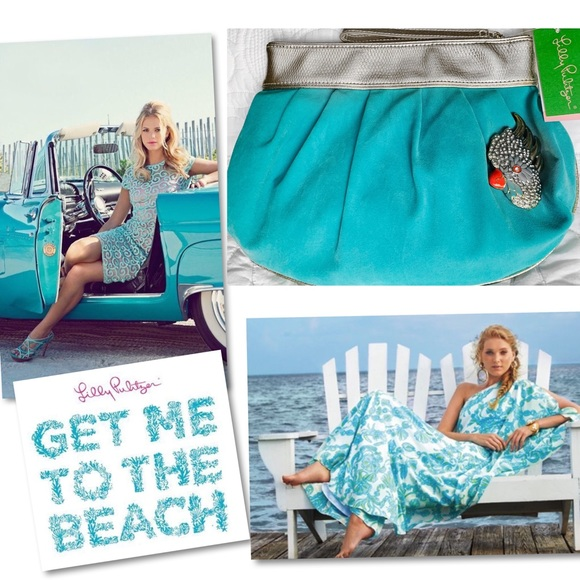 Lilly Pulitzer Handbags - Lilly Pulitzer Under The Stars sea blue clutch